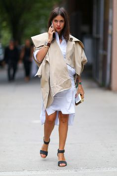 shirtdress/trench combo. Natasha in NYC. #NatashaGoldenberg