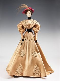 """""""1896 Doll"""" Designer: Bruyère (French, founded 1928) Designer: Luzie (French) Date: 1949 Culture: French Medium: metal, plaster, hair, silk, feather Dimensions: 32 1/2 x 19 in. (82.6 x 48.3 cm) Credit Line: Brooklyn Museum Costume Collection at The Metropolitan Museum of Art, Gift of the Brooklyn Museum, 2009; Gift of Chambre Syndicale de la Couture Parisienne, 1949"""