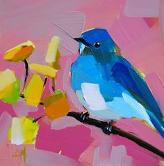 Mountain Bluebird in Aspen Painting | angela moulton's painting a day