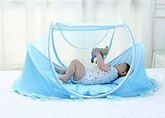 Baby Travel Bed Portable Folding Baby Crib Mosquito Net Tent Foldable Baby Cots Newborn Foldable Crib for 0-24 Month (Blue)