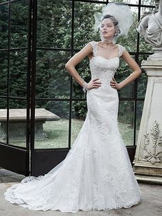 Maggie Sottero - RACHELLE, This elegant lace fit and flare is the epitome of modern beauty, combining a feminine fit and flare silhouette with the most delicate lace patterns, accented with shimmering beaded embellishments. Finished with covered buttons over zipper and inner elastic closure. Lace cap-sleeves offered separately.