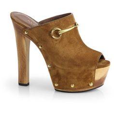 Gucci Tess Suede Wooden Platform Clogs