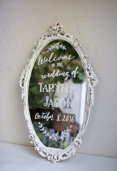 Wedding welcome on shabby chic vintage white mirror. Hand painted personalized wedding signs. Etsy art with florals and leaves
