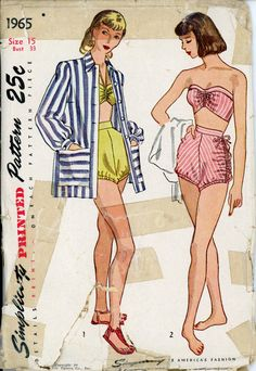 Simplicity 1965 Junior 1940s Bathing Swim Suit Pattern & Cover Up Strapless - Halter Top 2 Piece Womens Vintage Sewing Pattern