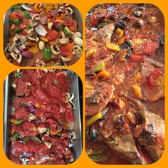 #Cacciatore - red, yellow, orange, green bell peppers, mushrooms, red onion. Homemade sofrito, center cut chops, tomato sauce. Now. Rice or pasta?