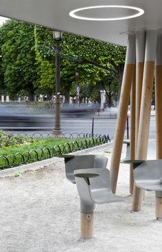Wi-Fi stations in Paris featuring Hard-wearing concrete swivel seats | Escale Numérique by   Mathieu Lehanneur