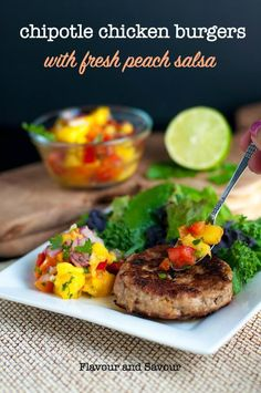 Chipotle Chicken Burgers with Fresh Peach Salsa. Make ahead and freeze! An easy recipe made with ground chicken, chipotle peppers in adobo, garlic and onion. Hcg Recipes, Healthy Chicken Recipes, Healthy Dinner Recipes, Cooking Recipes, Paleo Meals, Bariatric Recipes, Whole30 Recipes, Burger Recipes, Grilling Recipes