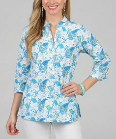 Take a look at the Celebrating Grace Aqua Paisley Island Button-Up - Women on #zulily today!