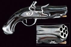An extremely rare seven-shot flintlock pistol, France, ca. Black Powder Guns, Flintlock Pistol, Steampunk Weapons, Fire Powers, Cool Guns, Guns And Ammo, Firearms, Hand Guns, 18th Century