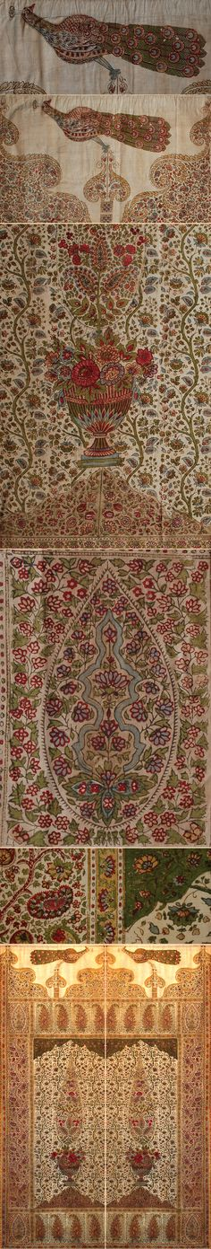 Antique Indian Block Print on Cotton two Panel Door Cover Mughal Dynasty  1526… Artisanat Indien ff6b31be5db