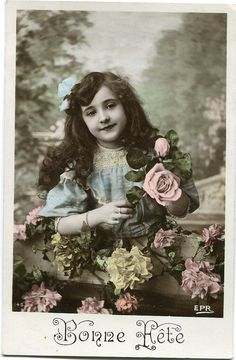 French girl with pink rose  Vintage French by BelleEpoqueCards, $3.75