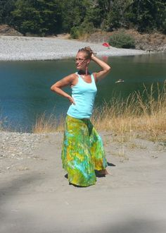 Ice Dyed Sea aiR blUe tiE Dye MAxi skirt green by LunabeanShoppe