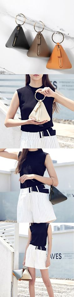US$13.86 Triangle Creative PU Leather Zipper Coin Bags Card Holder Clutch Bag #CoinBags #TriangleBags #ClutchBags