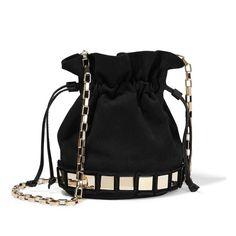 The Ultimate Guide to Fall's Hottest Handbag Trends  Tomasini - Lucile Embellished Suede Bucket Bag - Black ($1,145)