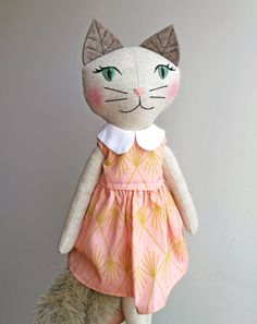 {edit: this one found a home, thank you!} The listings of this kitty and another one have been upgraded. All her fun summer set is on sale… Cat Fabric, Fabric Toys, Doll Clothes Patterns, Doll Patterns, Rainbow Bedding, Tilda Toy, Handmade Stuffed Animals, Handmade Soft Toys, Fabric Animals