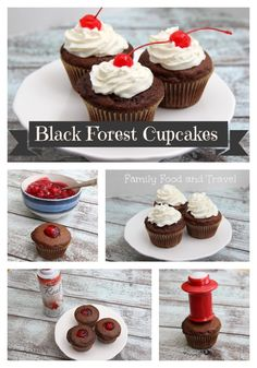 These easy Black Forest Cupcakes start with a boxed mix are filled with cherries and topped with whipped cream. The perfect indulgence.