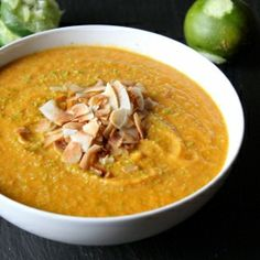 Creamy pumpkin soup flavored w/ fresh lime juice and topped w/ crispy coconut flakes. Gluten-free, vegan, and paleo!