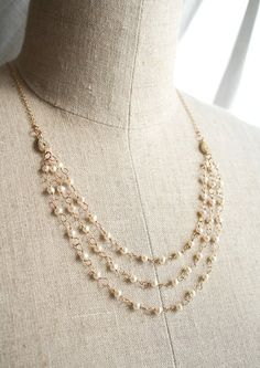 27 Modern + Traditional Wedding Anniversary Gifts<br />(by Year! Pearl Necklace Designs, Pearl Necklace Wedding, Pearl Jewelry, Wedding Jewelry, Nice Jewelry, Jewelry Ideas, Multi Strand Pearl Necklace, Ideas Joyería, Gift Ideas