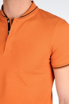 Armani Collezioni POLO SHIRT WITH TURNED DOWN MANDARIN COLLAR