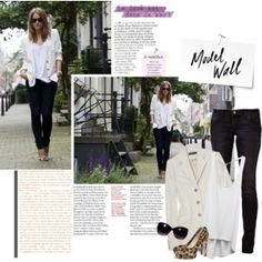 skinny jeans, cardigan, sunglasses and heels. totally something I'd wear!