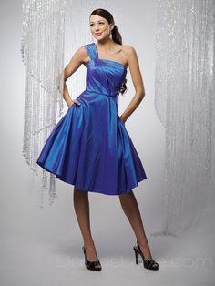 A-Line One-Shoulder Tea Length Taffeta Bridesmaid Dress