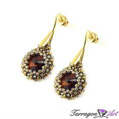 Kolczyki Beaded Swarovski Elements - Smoky Topaz & Rainbow Black Diamond - Beaded / Kolczyki - Tarragon Art - stylowa biżuteria artystyczna
