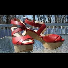 "Selling this ""Farylrobin 'Omari' Red Leather Platform Sandals"" in my Poshmark closet! My username is: thriftshopper. #shopmycloset #poshmark #fashion #shopping #style #forsale #Farylrobin #Shoes"