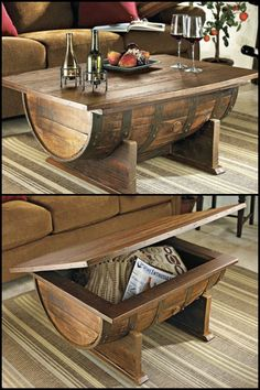 This is not just a stylish coffee table its also a spacious storage for keeping miscellaneous items in the living room Learn how to build a wine barrel coffee table by he. Pallet Furniture, Furniture Projects, Rustic Furniture, Home Projects, Wine Barrel Furniture, Furniture Stores, Industrial Furniture, Vintage Furniture, Craft Projects
