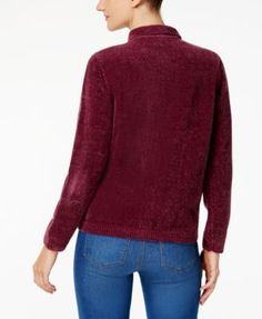 Alfred Dunner Chenille Cardigan - Purple XL