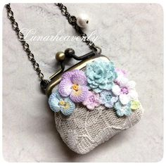 crochet flower purse necklace