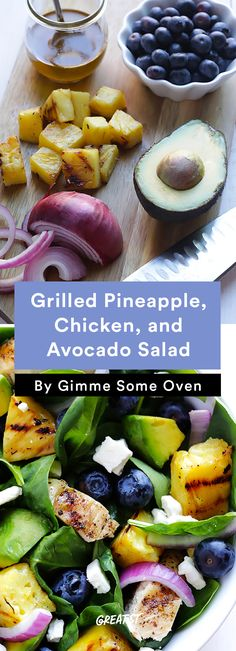 Grilled Pineapple, Chicken, and Avocado Salad - 7 summer salads you'll actually want to eat Summer Salad Recipes, Avocado Recipes, Healthy Salad Recipes, Summer Salads, Vegetarian Snacks, Grilled Pineapple Chicken, Avocado Chicken, Avocado Salat, Soup And Salad