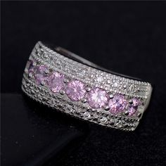 Silver Rings AAA Pink Cubic zirconia CZ Diamond Splendor Party Ring for women's Gift Jewelry Size - PinkyPiggy Silver Jewelry, Silver Rings, Crystal Fashion, Party Rings, Types Of Rings, Wedding Rings For Women, Crystal Rhinestone, Silver Color, Fashion Rings