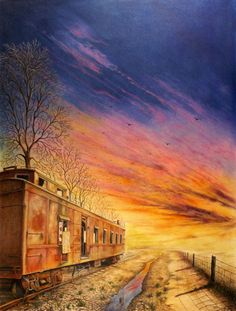 Colored pencil drawing of an abandoned caboose at sunset. Colored Pencil Artwork, Colored Pencils, Drawing Sunset, Drawing Prompt, Sunset Colors, Old Soul, Chalk Art, Pencil Drawings, Sunrise