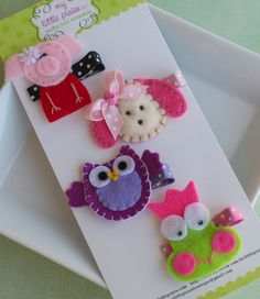 Fun Toddler Girl Hair Clip Set- Animal Hair Clips- Puppy, Frog, Owl, Pig. $14.50, via Etsy.