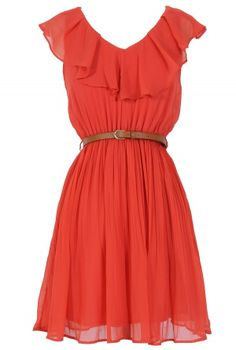 Katrina Ruffle Contrast Belted Dress in Coral  www.lilyboutique.com