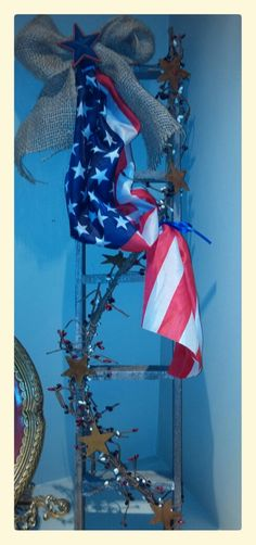 Patriotic Altered Ladder Decor...Flag...Burlap by TheChicTrunk
