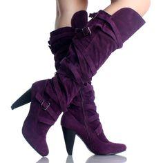 Purple Velvet Slouch Strappy Designer High Heel Womens Knee High Boots - I HATE Velvet but I love these.