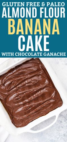 Almond Flour Banana Cake - This easy paleo banana cake with chocolate ganache is the perfect way to use up overripe bananas! Gluten free, paleo friendly and totally delicious // banana cake recipe // paleo banana cake recipe // gluten free banana cak Gluten Free Cakes, Gluten Free Desserts, Dairy Free Recipes, Paleo Dessert, Dessert Recipes, Baking Desserts, Cake Baking, Almond Flour Cakes, Almond Flour Recipes