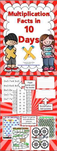 Multiplication Facts: Mastery in 10 Days - Help your students master multiplication facts. This program breaks the facts down into a manageable study plan that includes flash cards, flip books, parent letters, quizzes, a data tracker, and 6 super fun games. Wow! $