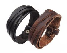Strap on this leather bracelet and rock out! Genuine leather and genuine style. The bracelet easily wraps and then has 3 holes to adjust for size. Just find your size and then a metal prong keeps it i