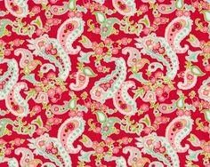 Patchworkstoff SCRUMPTIOUS, Paisley-Blüten, rot-mintgrün