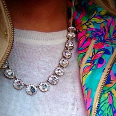 That necklace, with a black short ruffle skirt, and a leather jacket for the edge. Hells yes! Preppy Outfits, Preppy Style, Cute Outfits, My Style, Derby Outfits, Preppy Fashion, Fall Winter Outfits, Winter Fashion, Diamond Are A Girls Best Friend