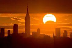 Solar Eclipse over New York City,  USA November 3, 2013