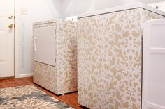 Can't afford a new washer & dryer? Update your old ones with gorgeous stencils.