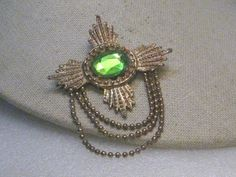 "Vintage Gold Crest Brooch with Chain Swag & Green Stone, 1950's-1960's, 2.5"" #Unbranded"