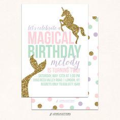 Unicorn and Mermaid Birthday Invitation / by LovelyLettersDesign