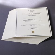 Certified print techniques. 300gsm ivory stock with black theromography and gold foil debossed. For Joe Malone.