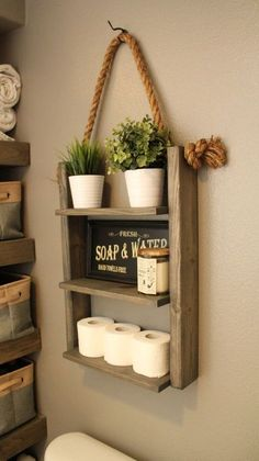Hanging Wood and Rope Ladder Shelf The Hanging Rope & Ladder Shelf