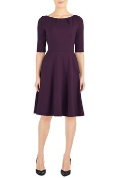 $55 - Structured cotton knit is pleated at the the boat neck and top-stitched at the princess seamed bodice, banded waist and flared skirt for our updated A-line dress.