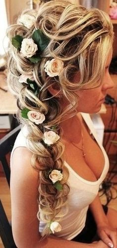 Bride's long loose fishtail braid bridal ideas ToniK Few people will not be dazzled by a long haired bride walking down the aisle. There are few chances for a girl to shine in life which can compare with being a bride in a weddi Side Hairstyles, Wedding Hairstyles For Long Hair, Prom Hairstyles, African Hairstyles, Braided Hairstyles, Hairstyle Ideas, Fairy Hairstyles, Trendy Hairstyles, Short Haircuts